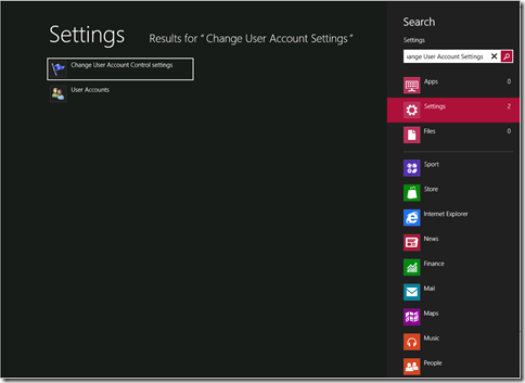 menonaktifkan user account control windows 8